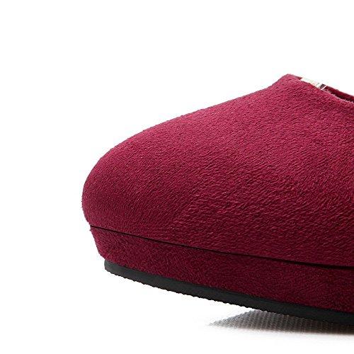 AllhqFashion Mujeres Hebilla Puntera Redonda Cerrada Tacón de aguja Gamuza(Imitado) Sólido De salón Rojo