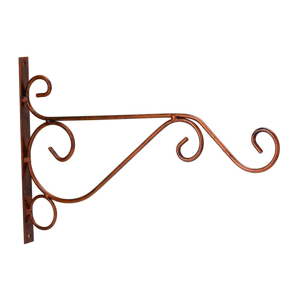 ORHINO 3-Pack 10'' Flower Plant Pot Hooks Hangers Forged Mount Against Door Fence Balcony Outdoor Lawn Iron Bracket For Planter Bird Feeder Lantern Windbell Wind Chimes With Screws(red copper)