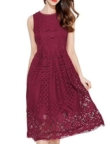 VEIIASR Womens Fashion Sleeveless Lace Fit Flare Elegant Cocktail Party Dress (Large, Red Wine)