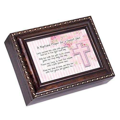 Baptismal Prayer for Girl Pink Burl Wood Finish Jewelry Music Box Plays Amazing Grace