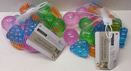 Reusable Plastic Ice Cubes Fruit Shaped 32 Count