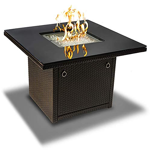 (Outland Living Series 410 Brown 36-Inch Outdoor Propane Gas Fire Pit Table, Black Tempered Tabletop w/Arctic Ice Glass Rocks and Resin Wicker Panels, Espresso Brown/Square)