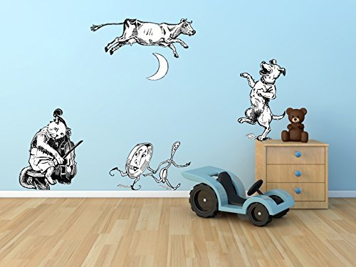 The Cat and The Fiddle The Cow Jumped Over The Moon Wall Decal Set - Pen and Ink Style - Sizes Shown Below