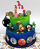 Mario Brothers 23 Piece Birthday Cake Topper Set Featuring Mario Castle, Bomb, Mario Coins, 6 Mario Figures Including Mario, Luigi, Princess Peach, Toad, Yoshi, Donkey Kong, and 12 Mario 1'' Decorative Buttons