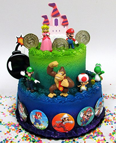 Mario Brothers 23 Piece Birthday Cake Topper Set Featuring Mario Castle, Bomb, Mario Coins, 6 Mario Figures Including Mario, Luigi, Princess Peach, Toad, Yoshi, Donkey Kong, and 12 Mario 1