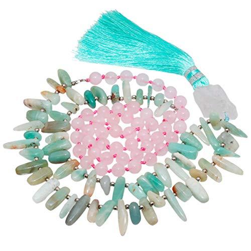 TUMBEELLUWA Healing Stone Necklace Crystal Beads Bracelet Wrap Charm Prayer Chakra Handmade Jewelry for Women,Tassel,Rose Quartz