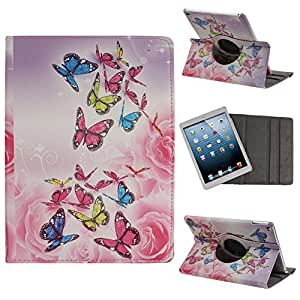 "Case for iPad Air 2,Cover for iPad Air 2, Case for iPad Air 2 with 9.7"" Retina Display,Leather Case for iPad Air 2,Flip Case for iPad Air 2, 360 Degree Rotating Butterfly Pattern Pu Leather Flip Protective Case Cover with Stand for Apple iPad Air 2 / iPad 6th Generation"