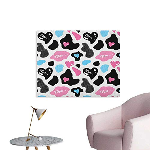 Anzhutwelve Cow Print Photographic Wallpaper Cow Hide with Hearts Moo Barnyard Love Valentines Abstract Design Poster Paper Pale Pink Black White W28 ()