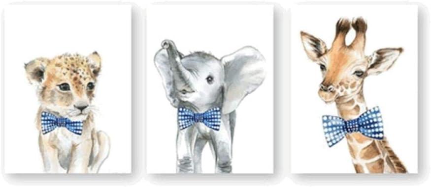 3pcs Baby Boy Nursery Navy Blue Decor Safari Animals Bow Ties Posters Prints Elephant Lion Giraffe Canvas Painting Wall Art Pictures 50x72cm No Frame