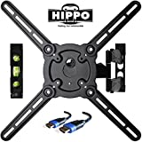 "HIPPO HP679TS Curved&Flat Panel TV Wall Mount Bracket for 26""-55"" TVs up to 88 lbs, VESA 400x400mm, Full Motion Swivel Articulating 20'' Extension Arm , 6.5 ft HDMI Cable & Bubble Level Included"