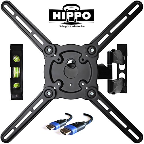 "HIPPO HP679TS Curved&Flat Panel TV Wall Mount Bracket for 26""-55"" TVs up to 88 lbs, VESA 400x400mm, Full Motion Swivel Articulating 20″ Extension Arm , 6.5 ft HDMI Cable & Bubble Level Included"