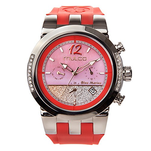 Mulco Blue Marine Infinity Quartz Multifuncion Movement Women's Watch | Mother of Pearl Sundial Display Rose Gold Accents | White Watch Band | Water Resistant Stainless Steel Watch (red) - Sundial Golf