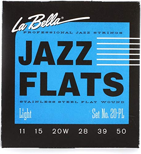 La Bella 20PL Jazz Flats Stainless Steel Flatwound Electric Guitar Strings - Light ()
