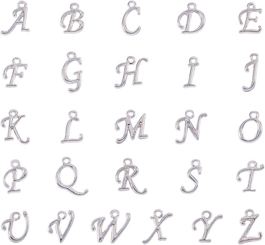 Argento YapitHome 208 Pezzi Ciondolo Alfabeto Ciondoli Collane Ciondolo Lettera Usato per Accessori per Creazione e Lavorazione di Gioielli per Bracciale Collana
