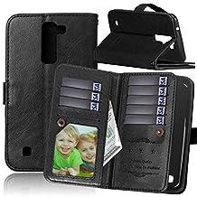 LG Stylo 2 Case, LG Stylus 2 Case, NOKEA [Flip Fit] [Kickstand Feature] LuxuryPremium PU Leather Wallet with 9 Card-Slots & Magnetic Flap Closure [Anti-Scratches] [Drop Protection] (Black)