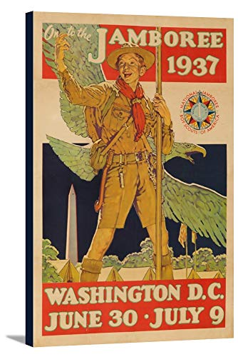 Boy Scout Jamboree Vintage Poster (artist: Rockwell, Norman) USA c. 1937 (15 7/8x24 Gallery Wrapped Stretched Canvas)