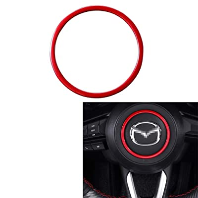 Duoles Crystal Steering Wheel Ring Emblem Decal Decoration Cover Sticker Trim for Mazda 3 6 CX-4 CX-5 CX-9: Automotive