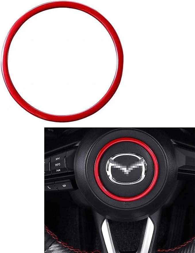 Alpha Rider Car Steering Wheel Cover Universal 3 inch//8CM Trim ABS Decoration Frame For Mazda Axela CX-4 CX-5 ATENZA 2018-2019 Blue