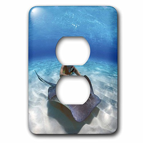 3dRose lsp_75640_6 Stingray City, Grand, Cayman Islands, Caribbean Plug Outlet Cover