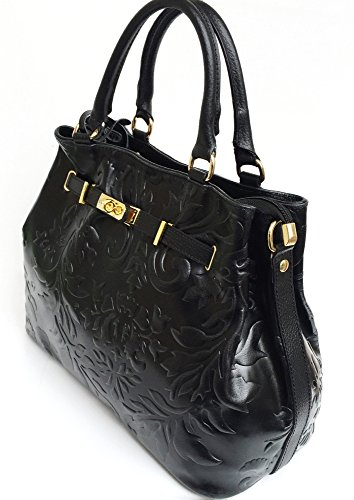SUPERFLYBAGS Borsa in vera pelle stampa fiorata modello Praga Flower Made in Italy nero