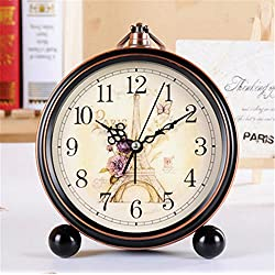 FirstDecor 5 inch European style Arabic numbers Eiffel Tower Pattern Morning Clock Silent Quiet Non-ticking Retro Vintage Classic Bedside Alarm Clock, Battery Operated Travel Clock Wall clock
