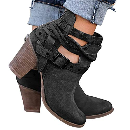 with Straps Chunky Booties Maybest Rivet Boots Ankle Buckle Heel Women's Black HHAzn1
