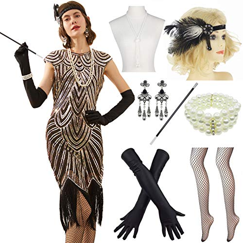 Women 1920s Vintage Flapper Fringe Beaded Gatsby Party Dress with 20s Accessories Set (3XL, Black Gold)