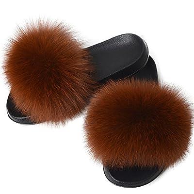 Yu Li Women Real Fox Fur Feather Vegan Leather Open Toe Single Strap Slip On Sandal