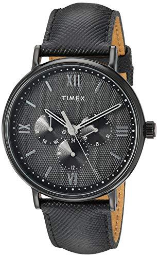 Timex Men's TW2T35200 Southview 41 Multifunction Blackout Leather Strap Watch (Watch Dress Black Leather)