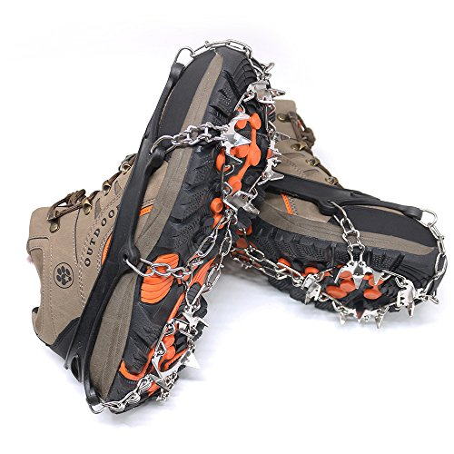 Lebolike Antiskid Crampons 18 Micro Spikes Grips Traction Cleats For Winter Walking Fishing Hiking and Other Outdoor Sports