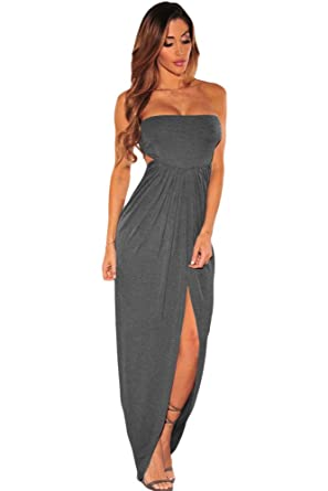 Women Open Back Bodycon Strapless Maxi Dress with Slit at Amazon Women s  Clothing store  aa19c24b6