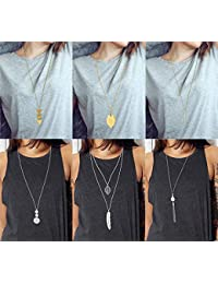 6 PCS Long Pendant Necklace for Women Girls Simple Bar Layer Three Triangle Tassel Y Charm Necklace Set
