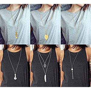 FUNEIA 6 PCS Long Pendant Necklace for Women Simple Bar Layer Three Triangle Tassel Y Charm Necklace Set