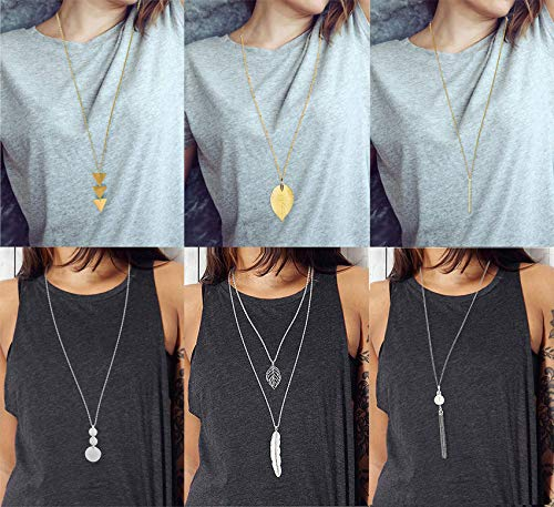 Anlsen 6PCS Long Pendant Necklace for Women Girls Layer Simple Bar Three Triangle Tassel Y Necklace Set