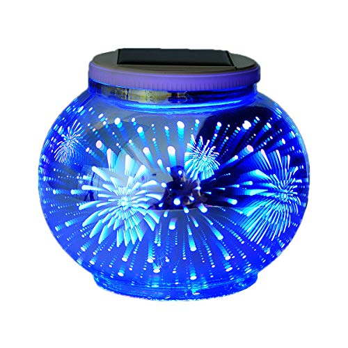 Solar Mosaic Table Lamps Color Changing Yurnero Solar Powered Table Light Crystal Glass Ball Light Indoor/Outdoor Decorations for Christmas Party Holiday Patio Yard(Firework)