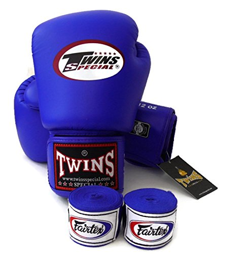 Twins Special - Boxing Gloves. BGVL3, Color:Black Red Green Orange White Blue, Size: 10 12 14 16 oz. Training/Sparring Gloves for Muay Thai, Kick boxing, MMA (blue, 14 oz)