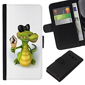 Planetar® Colorful Pattern Flip Wallet Leather Holster Protective Skin Case Cover For Samsung Galaxy A3 / SM-A300 ( Friendly Crocodile Ice Cream )