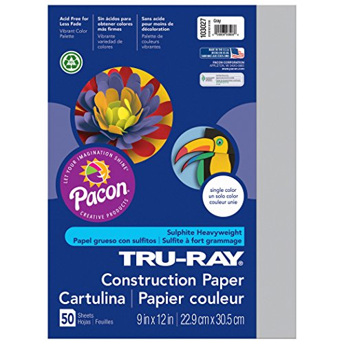 Pacon Tru-Ray Construction Paper, Gray, 9