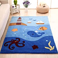 MAXYOYO Boys and Girls Cartoon Carpet Thicken Blue Ocean Octopus Pattern Kids Bedroom Soft Carpet Childrens Rugs 55 by 78 Inch