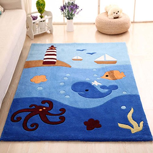 MAXYOYO Boys and Girls Cartoon Carpet Thicken Blue Ocean Octopus Pattern Kids Bedroom Soft Carpet Children's Rugs 47 by 67 Inch by CarPet