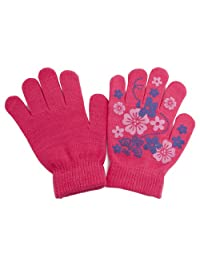 Girls Fun Winter Magic Gloves With Rubber Print (Up to 12 years) (Pink)