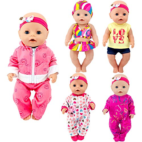 ebuddy Total 5 Sets Baby Doll Clothes Include Bikini Rompers for 43cm New Born Baby Dolls, 15 inch Bitty Baby Doll