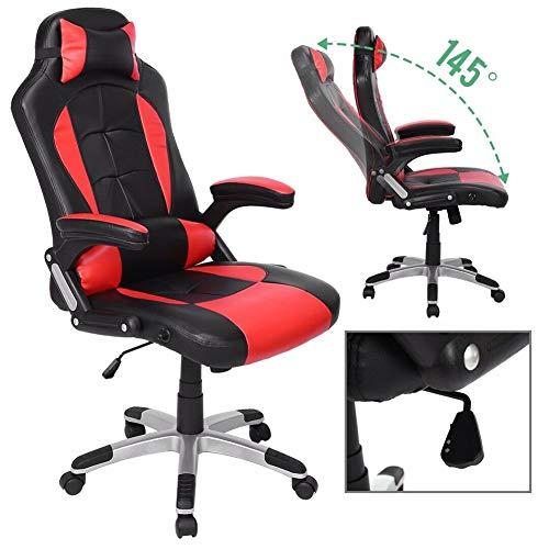 (High Back Racing Gaming Swivel Chair Office Executive Computer Desk Chair, Ergonomic Backrest and Seat Height Adjustment with Pillows Recliner Swivel Rocker Headrest and Lumbar Tilt E-Sports Chair)