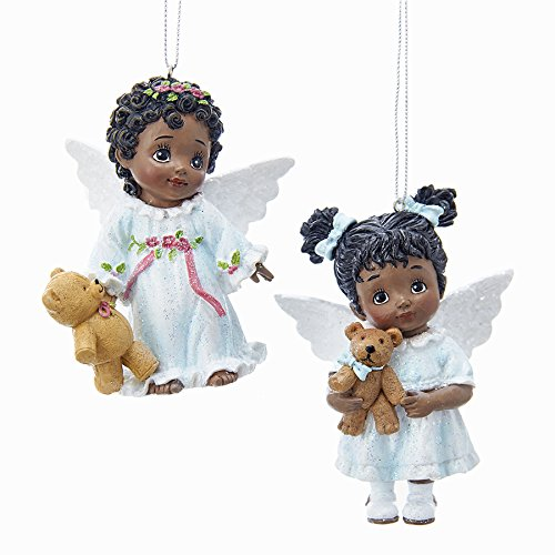 - Kurt Adler AFRICAN AMERICAN LITTLE ANGEL WITH TEDDY BEAR ORNAMENT - 2 ASSORTED: PINK BOW AND BLUE BOW