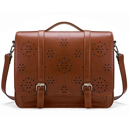 ECOSUSI Women Briefcase PU Leather Laptop Backpack Shoulder Computer Bag Messenger Satchel fit 14 inch Laptop, ()