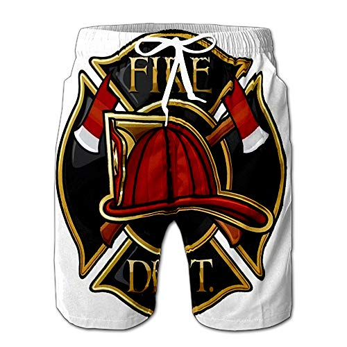 Summer Shorts Pants Fire Department Or Firefighters Maltese Cross Symbol Mens Golf Sports Shorts L