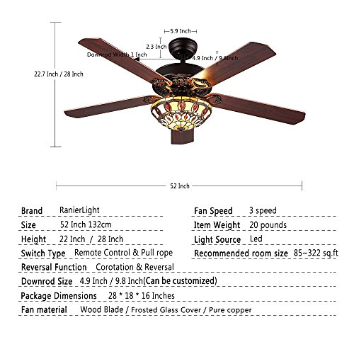 RainierLight Antique Decorative Ceiling Fans Led Light with 5 Wood Leaves for Living Room/Bedroom/Dinning Room Remote Control Mute Fan (52-Inch) by RainierLight (Image #1)