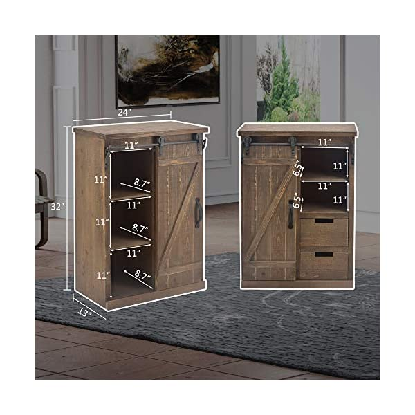 """Bonnlo 32"""" H Rustic Storage Cabinet with Sliding Barn Doors Hardware and 2 Drawers, Farmhouse Buffet Entryway End Table Console Cabinet Vintage Furniture (No Need Assembly)"""