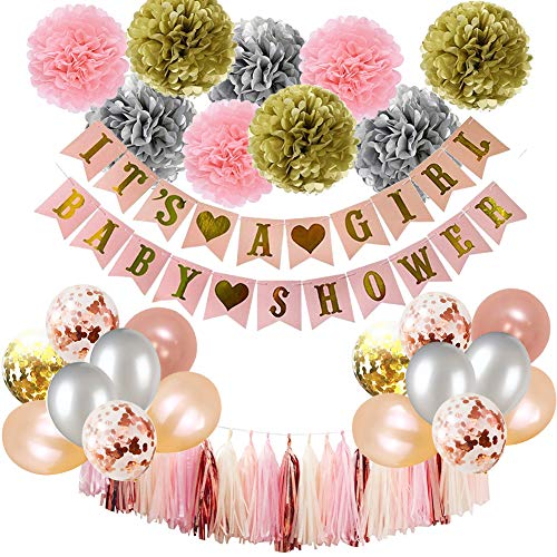 Baby Shower Decorations, Puchod It's A Girl Banner Baby Girls Shower with Rose Gold Confetti Balloons 100pcs Party Supplies Pink and Gold Silver Champagne Paper Tissue Pom Poms -