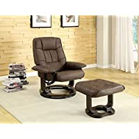 Hokku Designs Leatherette Swivel Recliner Chair and Ottoman